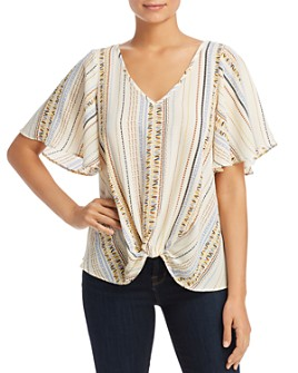 Status by Chenault - Printed Knot-Front Top