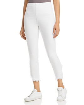 Lyssé - Cropped Frayed-Hem Legging Jeans in White