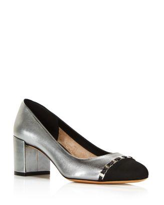 Women's Avella Metallic Leather Block Heel Pumps by Salvatore Ferragamo