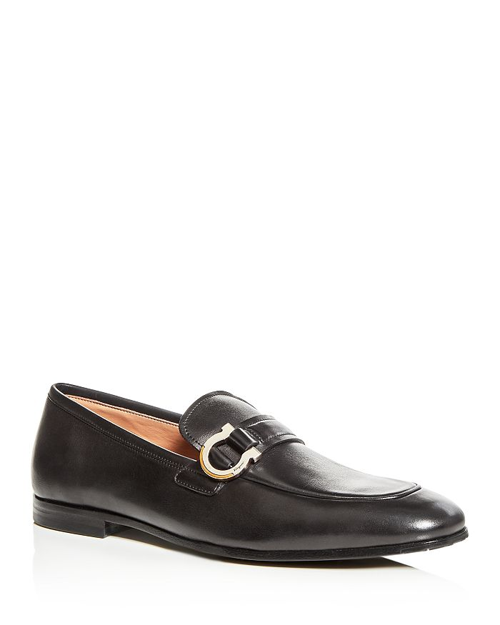 Salvatore Ferragamo - Men's Tweed Leather Apron-Toe Loafers