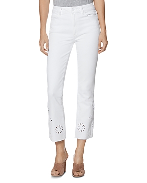Paige Vintage Colette Crop Bootcut Jeans in Crisp White Embroidered