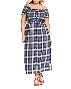 City Chic Plus Plaid Off-the-Shoulder Maxi Dress