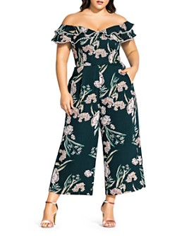 City Chic Plus - Fresh Fields Off-the-Shoulder Cropped Jumpsuit