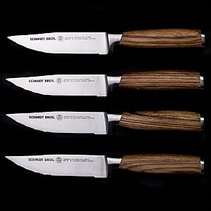 Schmidt Brothers Cutlery Zebra Wood 4-Pc. Jumbo Steak Knife Set