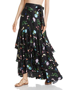 Paper London - Neli Floral-Silk Maxi Skirt