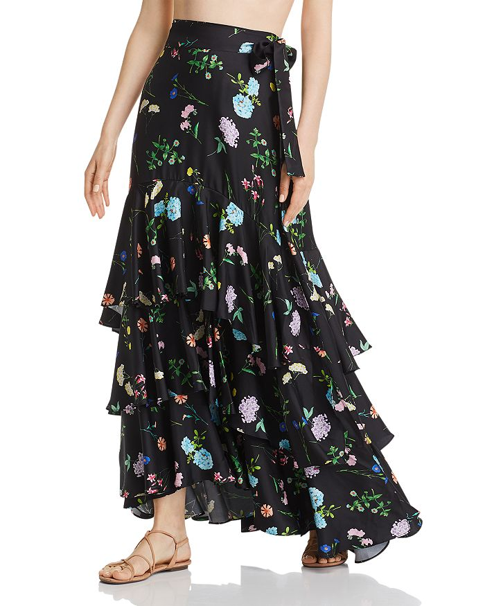 Paper London - Neli Floral-Silk Maxi Skirt