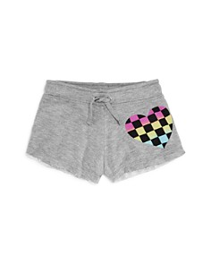 Flowers by Zoe - Girls' Pastel Check Heart Shorts - Little Kid