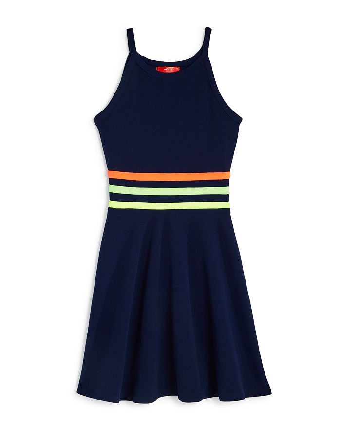AQUA - Girls' Rainbow Trim Dress, Big Kid - 100% Exclusive