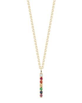 "MATEO - 14K Yellow Gold Rainbow Ruby, Tsavorite, Sapphire & Diamond Bar Necklace, 16"""