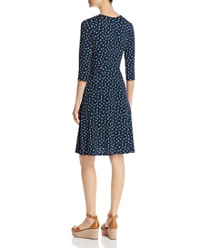 Leota - Dot-Print Faux-Wrap Dress