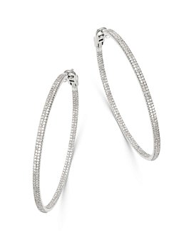 Bloomingdale's - Diamond Inside Out Large Hoop Earrings in 14K White Gold, 2.0 ct. t.w. - 100% Exclusive