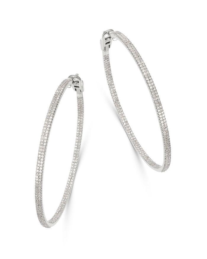 Bloomingdale's Diamond Inside Out Large Hoop Earrings in 14K White Gold, 2.0 ct. t.w. - 100% Exclusive  | Bloomingdale's
