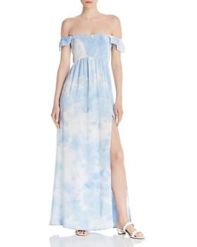 AQUA - Tie-Dye Off-the-Shoulder Maxi Dress - 100% Exclusive