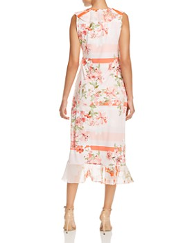 Calvin Klein - Sleeveless Floral Faux-Wrap Midi Dress