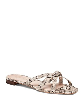 Loeffler Randall - Women's Eveline Snakeskin-Embossed Leather Thong Sandals