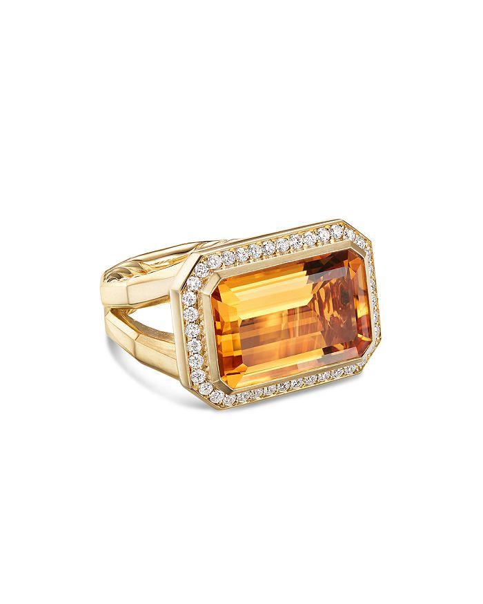 David Yurman - 18K Yellow Gold Novella Statement Ring with Madeira Citrine & Diamonds