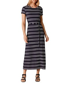 KAREN MILLEN - Striped Belted Midi Dress