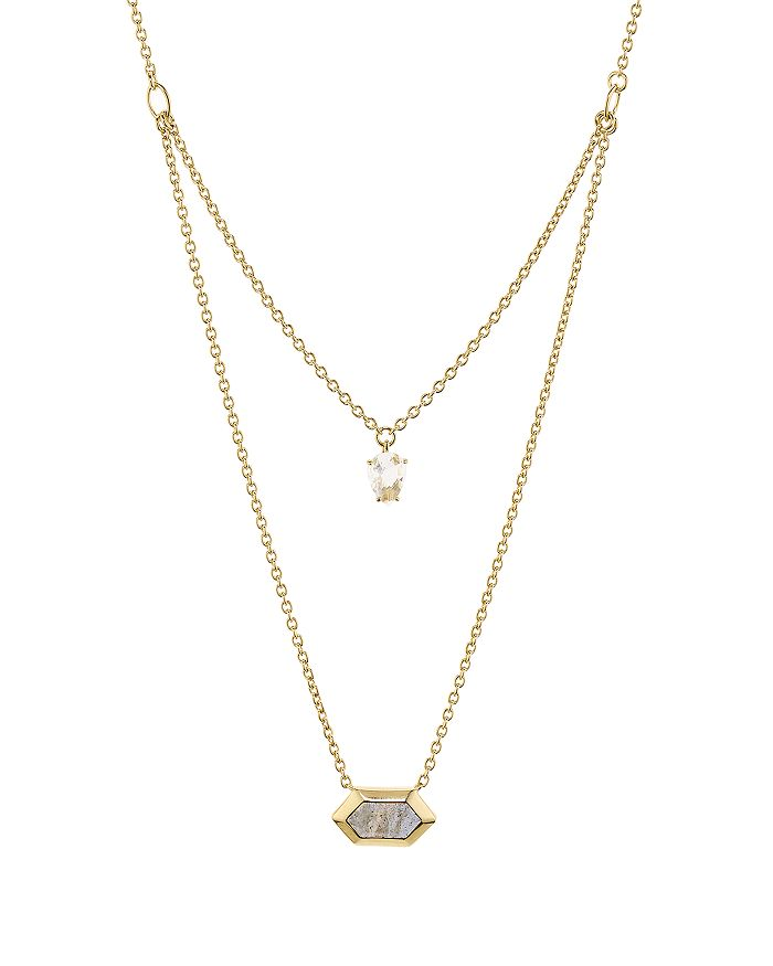 "Nadri - Venice Multi-Row Pendant Necklace in 18K Gold-Plated Sterling Silver, 16""-18"""