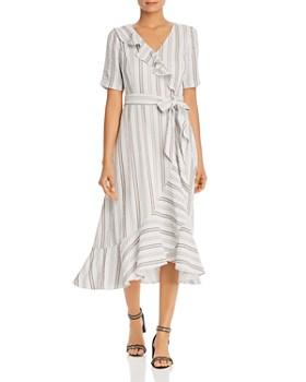 Calvin Klein - Striped Faux-Wrap Dress