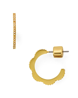 kate spade new york Pave Scalloped Mini Hoop Earrings
