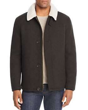 Cole Haan - Sherpa-Trimmed Herringbone Jacket
