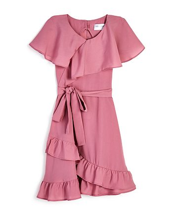 US Angels - Girls' Ruffled Faux-Wrap Dress - Little Kid