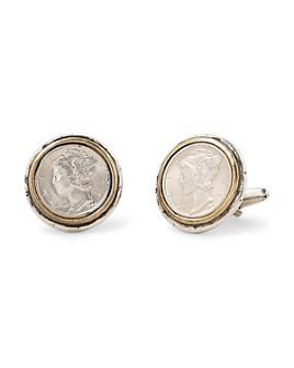 John Varvatos Collection - Sterling Silver & Brass Artisan Metals Mercury Dime Cufflinks