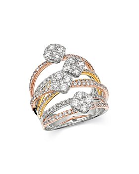 Bloomingdale's - Diamond Crossover Statement Ring in 14K White, Rose & Yellow Gold, 2.5 ct. t.w. - 100% Exclusive