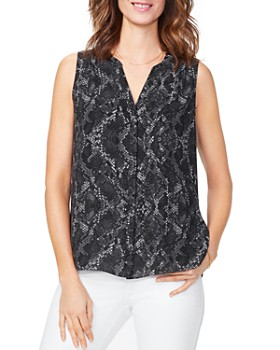 NYDJ - Printed Pintuck-Back Blouse - 100% Exclusive
