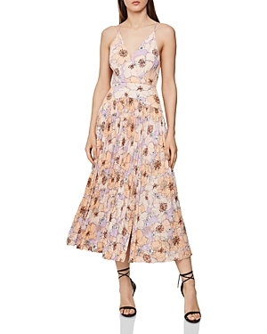 Reiss Dresses CORINNE PLEATED FLORAL DRESS