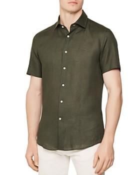 REISS - Morrezmo Linen Slim Fit Button-Down Shirt