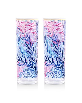 Lilly Pulitzer - Kaleidoscope Coral Acrylic Hi-Ball Glasses, Set of 2