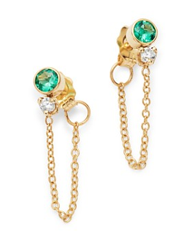 986d9e8b5 Zoë Chicco - 14K Yellow Gold Emerald Chain Drop Earrings ...