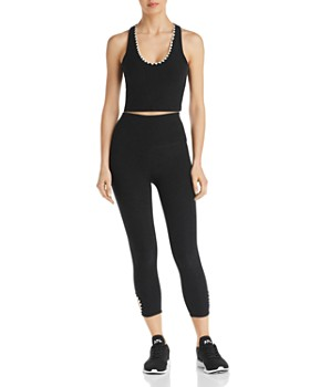 Beyond Yoga - Embroidered-Trim Cropped Top & High-Rise Cutout Leggings