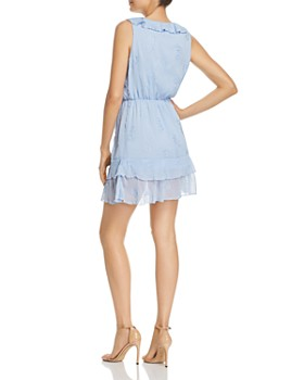 AQUA - Embroidered Ruffled Faux-Wrap Dress - 100% Exclusive
