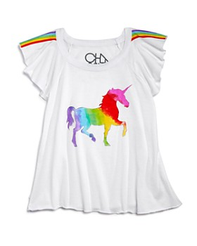 CHASER - Girls' Rainbow Unicorn Tee - Little Kid, Big Kid