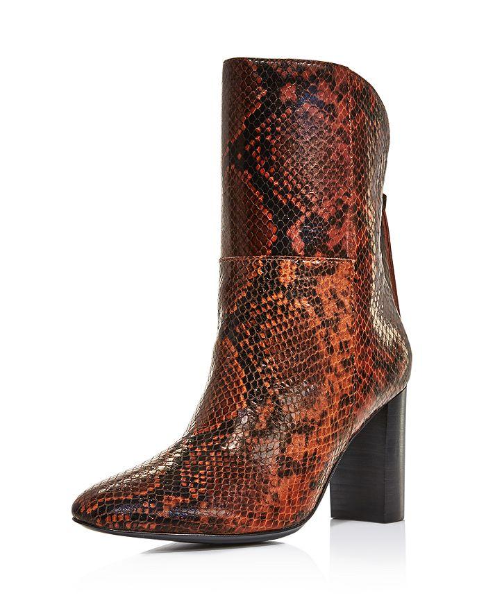 Charles David - Women's Billard Snake-Print Block Heel Boots