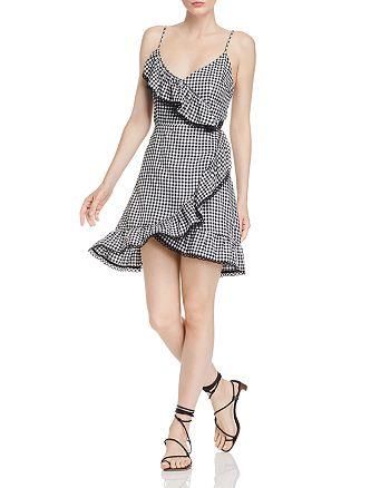 BB DAKOTA - Ruffled Gingham Faux-Wrap Dress