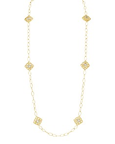 """Gumuchian - 18K Yellow Gold Tiny Hearts Station Necklace, 34"""""""