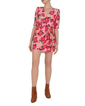 The Kooples - Peony in Love Silk Mini Wrap Dress