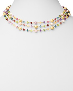 Marco Bicego - 18K Yellow Gold Africa Gemstone & Cultured Freshwater Pearl Beaded Collar Necklace, 17""