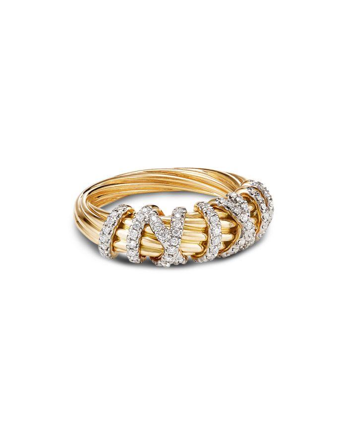David Yurman 18K Yellow Gold Helena Small Ring with Diamonds    Bloomingdale's