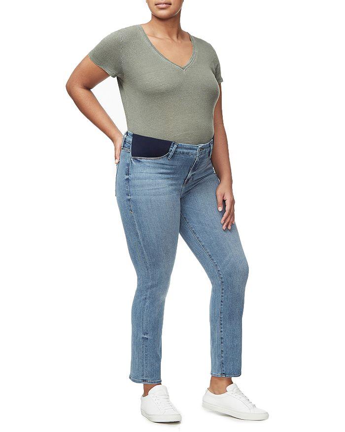 Good American - Honeymoon Straight-Leg Maternity Jeans in Blue087