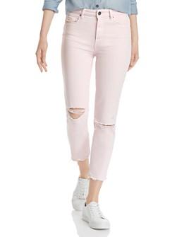 PAIGE - Hoxton Slim Crop Destructed Jeans in Vintage Pink Mirage