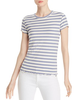 PAIGE - Senna Striped Lettuce-Edge Tee