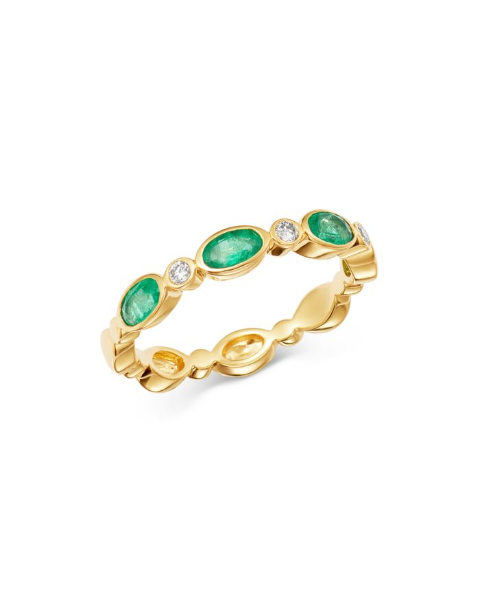 Bloomingdale's Emerald & Diamond-Accent Band in 14K Yellow Gold - 100% Exclusive    Bloomingdale's