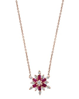 "Bloomingdale's - Ruby & Diamond Starburst Pendant Necklace in 14K Rose Gold, 18"" - 100% Exclusive"