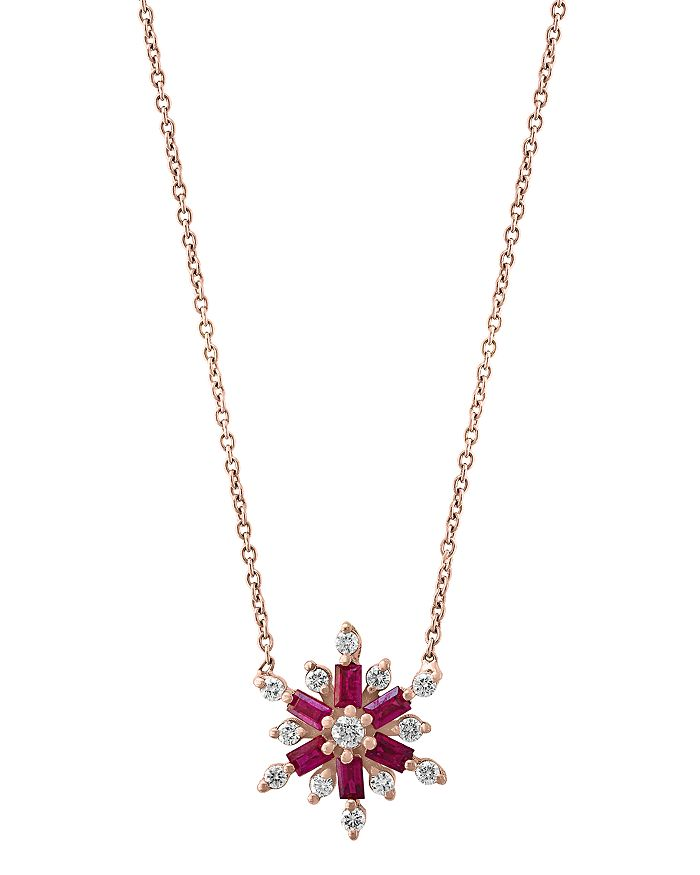 """Bloomingdale's - Ruby & Diamond Starburst Pendant Necklace in 14K Rose Gold, 18"""" - 100% Exclusive"""