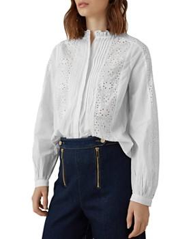 KAREN MILLEN - Eyelet-Panel Pintuck Shirt