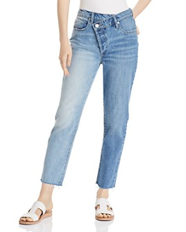 BLANKNYC - Asymmetric Two-Tone Cropped Straight-Leg Jeans in Showstopper